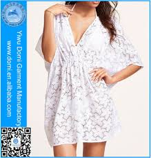 domi white dress beachwear one piece lace half sleeve beach