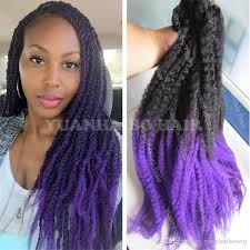 ombre marley hair 2018 hot selling 20inch fold black purple ombre marley hair two