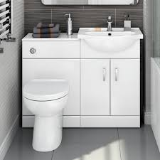 Bathroom Vanity Units With Basin by 1048mm Quartz Gloss White Combined Suite With Toilet U0026 Basin