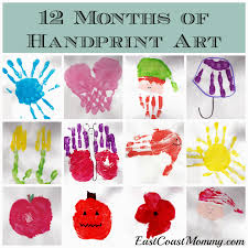 east coast mommy 12 months of handprint art