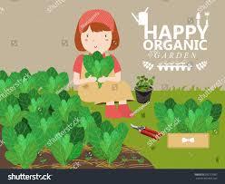 women grow vegetables growing vegetables home stock vector