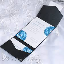 folding wedding invitations affordable blue dandelion pocket wedding invitations iwps083