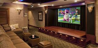 Home Theatre Decorations by Awesome Small Home Theatre With Cozy Yellow Seating Idea