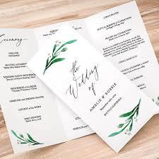 tri fold wedding program trifold wedding program printable template folded order of