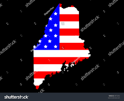 Maine State Map by Map State Maine American Flag Stock Vector 3072232 Shutterstock