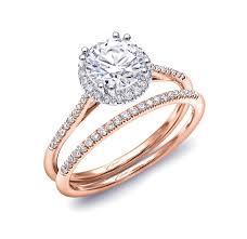Gold Diamond Wedding Ring Sets by Coast Diamond Halo Rose Gold Engagement U0026 Wedding Ring Set