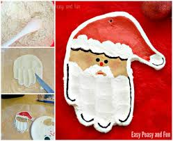 handprint santa salt dough ornament easy peasy and