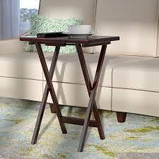 carter metal folding tray table black traditional tv latitude run bezkov rectangular tv tray table reviews wayfair