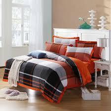 Cotton Bedding Sets Black Orange And White Southwestern Buffalo Checked Print