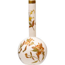19th c royal worcester bud vase blush ivory with floral