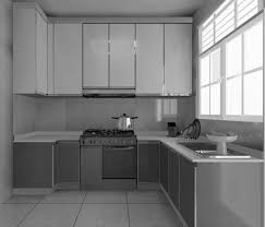 l shaped kitchen design with white wooden wall cabinet grey