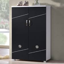 White Shoe Cabinet With Doors by Baxton Studio Rudd Contemporary Black White Shoe Cabinet With 2