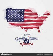 The Flag Of Usa Map Of United States Of America With The Decoration Of The