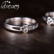 Infinity Wedding Rings by Heart Knot Love Engraved Couple Promise Ring Cute Infinity