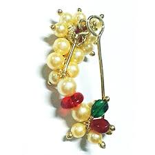 Buy Maharashtrian Traditional Nath Clip Buy Nath Clip Type Maharashtrian Nose Ring Of Pearl Beads Medium