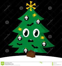 Halloween Flying Bats Spooky Christmas Tree With Halloween Decorations Stock Vector