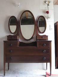 Built In Vanity Dressing Table Bedroom Retro Dark Brown Polished Teak Wood Make Up Dressing