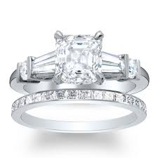 engagement rings with baguettes baguette sidestones pave engagement ring