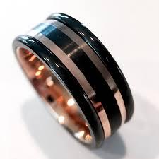 wedding bans mens tungsten wedding bans black and gold tungsten ring his