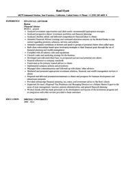 Financial Consultant Resume Sample by Financial Advisor Resume Sample Velvet Jobs