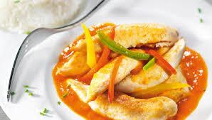 cuisiner aiguillette de poulet recette aiguillettes de poulet à la crème de poivrons facile pour 4