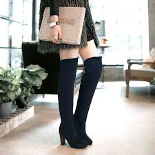 womens boots navy blue plus size winter chunky heel thigh high suede boots elastic