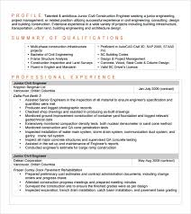 Construction Engineer Resume Sample by Sample Civil Engineer Resume 6 Free Samples Examples Format
