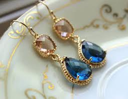 most beautiful earrings gold blush jewelry chagne earrings sapphire earrings navy