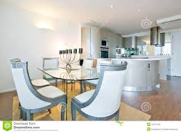 ultra modern designer kitchen with dining room royalty free stock