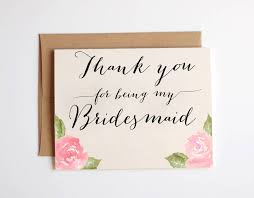 be my bridesmaid invitations thank you card sle thank you bridesmaid card bridesmaid thank