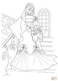princess in a wedding dress coloring page free printable