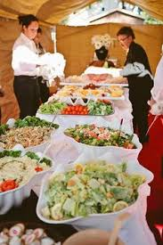 round table salad bar like the round table at the end for plates decorated with some