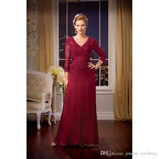 straight burgundy evening dresses three quarter sleeve v neck