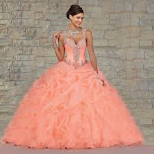 stock coral quinceanera dresses 2016 ball gown bead sweet 16 cheap