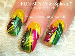 abstract yellow stripe nail art design tutorial old long