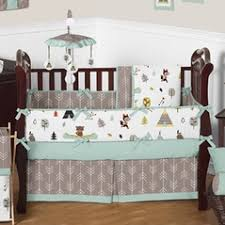 woodland animals baby bedding blue and brown crib bedding