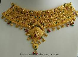 gold choker necklace sets images Gold choker necklace set choudhary jewellers south india gold jpg