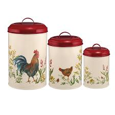 rooster canisters kitchen products paula deen pantryware food canister set garden rooster 46595