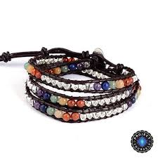 bracelet beads leather images Multiwrap 7 chakra natural stone beads leather bracelet project jpg