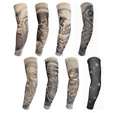 8pcs unisex cool fake tattoo arm sun protection sleeve covers body