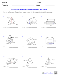 volume cylinder worksheet prisms pyramids cylinders cones surface area worksheets math