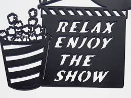 home movie theater decor amazon com clapboard movie reel relax enjoy the show home movie