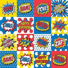 comic wrapping paper bam pow zap comic theme 24 x 16 roll happy