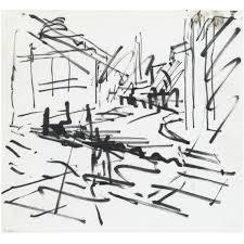 frank auerbach building site study coloured
