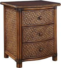 Solid Wood Bedroom Furniture Bedside Drawer Night Stand Rattan Wicker Veneer Solid Wood Bedroom