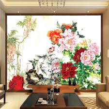 Chinese Style Home Decor Aliexpress Com Buy Flower U0026 Bird Painting Photo Wallpaper