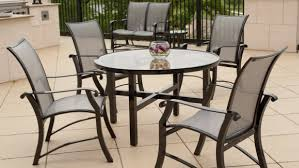 Glass Top Patio Dining Table Furniture Comfortable Outdoor Dining Room With Cast Aluminum