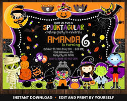 halloween birthday invitation etsy