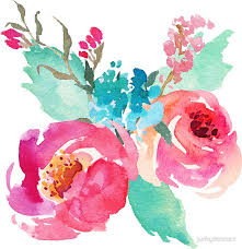 turquoise flowers watercolor colorful pink coral turquoise flowers stickers by