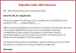 Rejection Letter Recruitment Agency rejection letters 20 free sles formats for hr